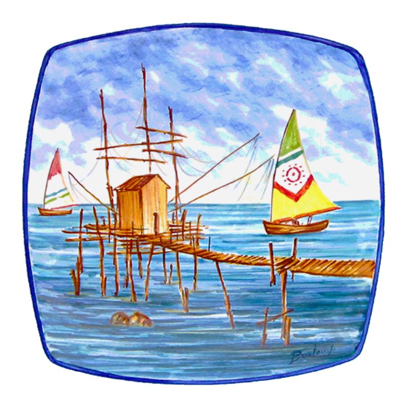 piatto da muro decorativo ceramica decorative wall plate trabocchi